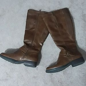 RELATIVITY vegan leather brown riding boots 7.5